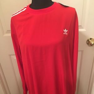 🆕 AUTHENTIC ADIDAS FLARE HEM T-SHIRT RED DRESS